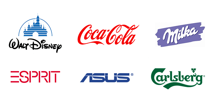 The use of decorative fonts in the logos of famous companies